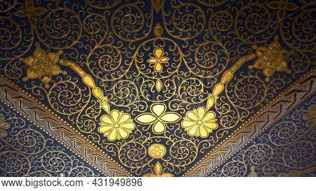 Old Floral Ornamental Frescoed Ceiling. Close Up Shot