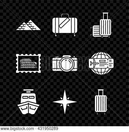 Set Egypt Pyramids, Suitcase For Travel And Stickers, Ship, Wind Rose, Postal Stamp Coliseum And Pho