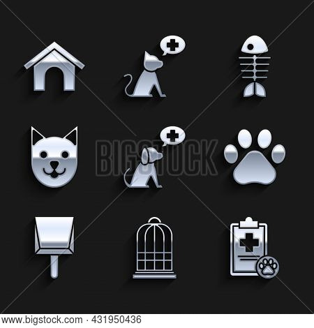 Set Veterinary Clinic Symbol, Cage For Birds, Clipboard With Medical Clinical Record Pet, Paw Print,