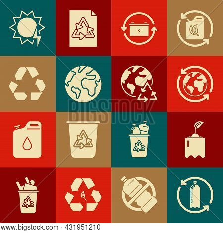 Set Recycling Plastic Bottle, Sprout, Planet Earth And Recycling, Battery With Recycle Symbol, Earth