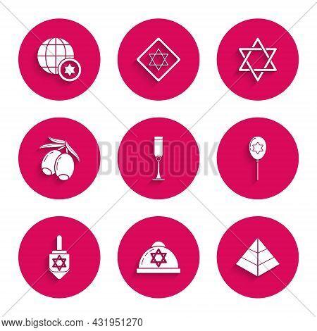 Set Jewish Goblet, Kippah With Star Of David, Egypt Pyramids, Balloons Ribbon, Hanukkah Dreidel, Oli