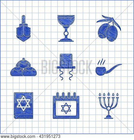 Set Orthodox Jewish Hat With Sidelocks, Jewish Calendar Star Of David, Hanukkah Menorah, Smoking Pip