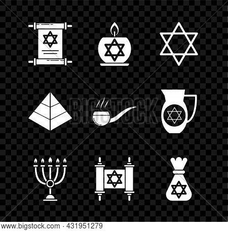 Set Torah Scroll, Burning Candle In Candlestick With Star Of David, Star David, Hanukkah Menorah, Je