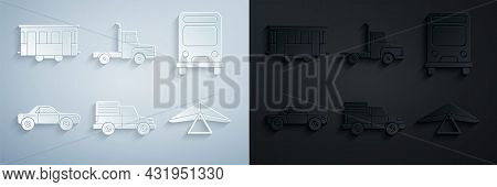 Set Delivery Cargo Truck Vehicle, Bus, Sedan, Hang Glider, And Old City Tram Icon. Vector