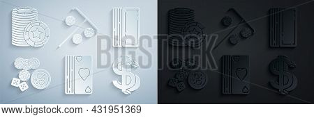Set Deck Of Playing Cards, Casino Chips, Game Dice And Glass Whiskey With Ice Cubes, Dollar Symbol,