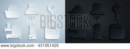 Set Blender, Electric Fan, Kitchen Meat Grinder, Slow Cooker, Extractor And Citrus Fruit Juicer Icon