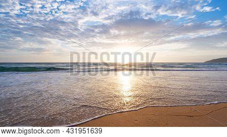 Amazing Tropical Beach Sea Beautiful Beach Blue Sea Water Blue Sky Background Sunset Or Sunrise Sky