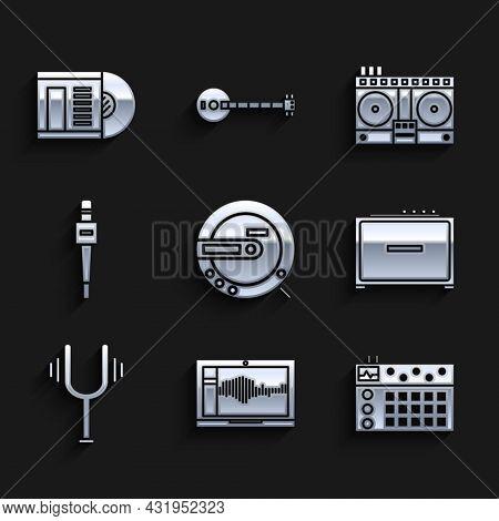 Set Music Cd Player, Sound Or Audio Recorder On Laptop, Drum Machine, Guitar Amplifier, Musical Tuni