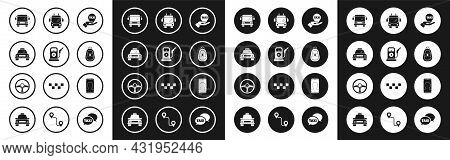 Set Hand On Map Pointer With Taxi, Petrol Or Gas Station, Taxi Car, Bus, Car Key Remote, Trolleybus,