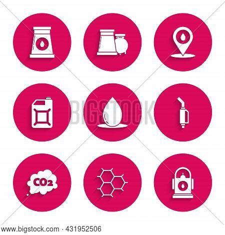 Set Oil Drop, Petrol Gas Station, Gasoline Pump Nozzle, Co2 Emissions Cloud, Canister Gasoline, Refi