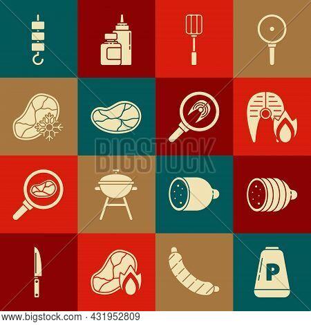 Set Pepper, Salami Sausage, Grilled Fish Steak And Fire Flame, Spatula, Steak Meat, Fresh Frozen, Sh