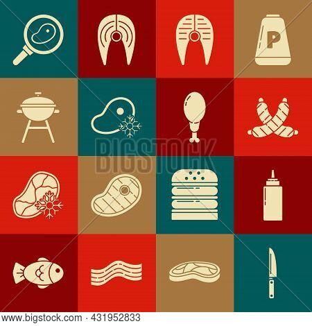 Set Knife, Sauce Bottle, Crossed Sausage, Fish Steak, Fresh Frozen Meat, Barbecue Grill, Steak In Fr