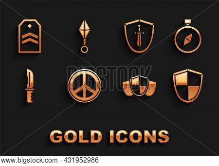 Set Peace, Compass, Shield, Military Knife, Medieval Shield With Sword, Chevron And Japanese Ninja S