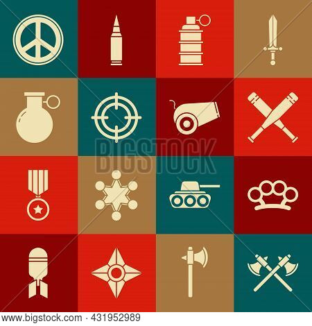 Set Crossed Medieval Axes, Brass Knuckles, Baseball Bat, Hand Grenade, Target Sport, Peace And Canno
