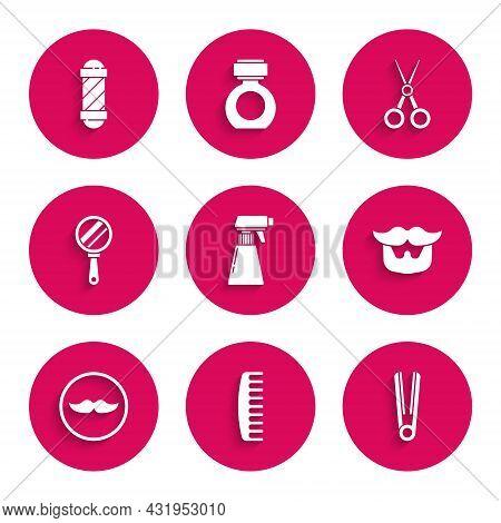 Set Hairdresser Pistol Spray Bottle, Hairbrush, Curling Iron For Hair, Mustache And Beard, Hand Mirr