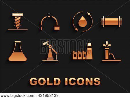 Set Oil Pump Or Pump Jack, Industry Pipe, Industrial Factory Building, Petrol Test Tube, Drop, Rotat