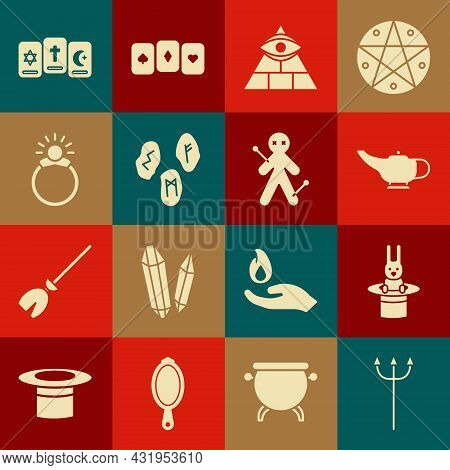 Set Neptune Trident, Magician Hat And Rabbit, Lamp Or Aladdin, Masons, Runes, Stone Ring With Gem, T