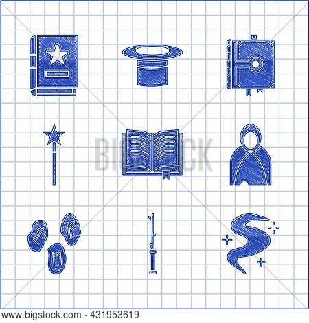 Set Ancient Magic Book, Magic Wand, Fog Or Smoke, Mantle, Cloak, Cape, Runes, And Icon. Vector