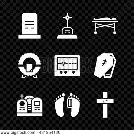 Set Grave With Tombstone, Cross, Dead Body In The Morgue, Christian, Memorial Wreath And Beat Dead M