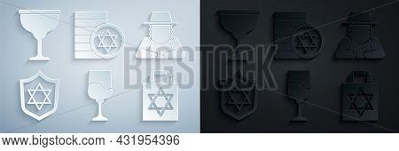 Set Jewish Goblet, Orthodox Jewish Hat, Shield With Star Of David, Shopping Bag Star David, Coin And