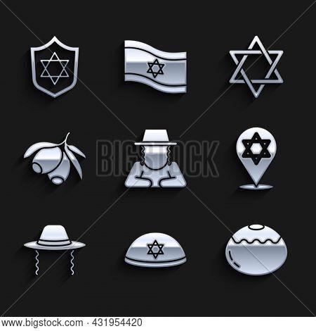 Set Orthodox Jewish Hat, Jewish Kippah, Sweet Bakery, Star Of David, Olives Branch, And Shield With