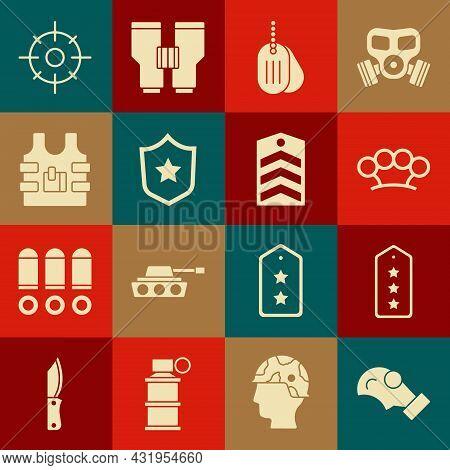Set Gas Mask, Military Rank, Brass Knuckles, Dog Tag, Reward Medal, Bulletproof Vest, Target Sport A