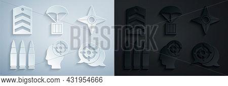 Set Target Sport, Japanese Ninja Shuriken, Bullet, Airdrop Box And Chevron Icon. Vector