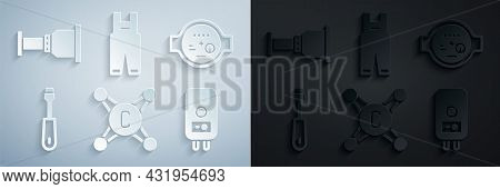 Set Water Tap, Meter, Screwdriver, Electric Boiler, Work Overalls And Pipe Adapter Icon. Vector