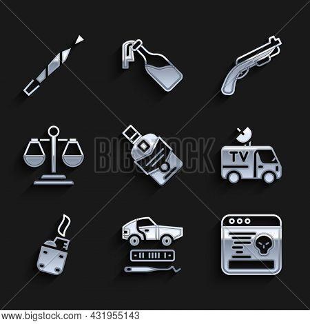 Set Whiskey Bottle, Car Theft, System Bug, Tv News Car, Lighter, Scales Of Justice, Police Shotgun A