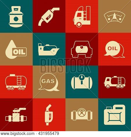 Set Canister For Motor Oil, Tanker Truck, Word, Gas Tank Vehicle, Oil Tanker Ship, Drop, Propane Gas