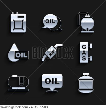 Set Gasoline Pump Nozzle, Word Oil, Propane Gas Tank, Filling Station, Oil Storage, Drop, And Canist