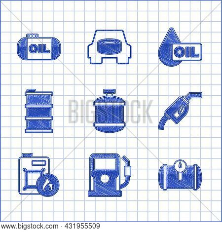 Set Propane Gas Tank, Petrol Or Station, Gas For Vehicle, Gasoline Pump Nozzle, Canister Motor Oil,
