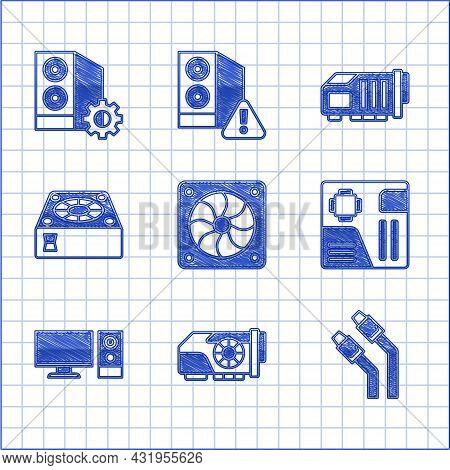 Set Computer Cooler, Video Graphic Card, Lan Cable Network Internet, Motherboard Digital Chip, Monit