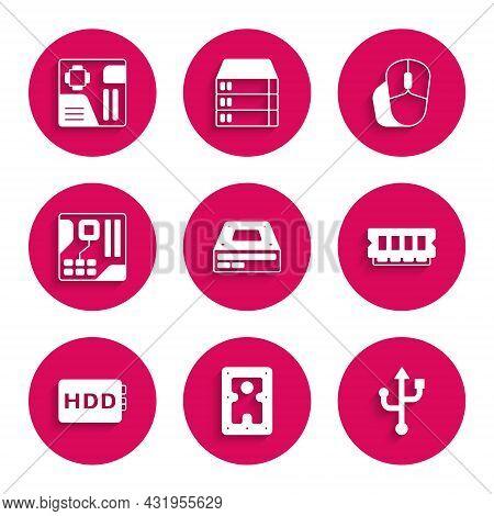 Set Optical Disc Drive, Hard Disk Hdd, Usb, Ram, Random Access Memory, Motherboard Digital Chip, Com