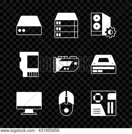 Set Server, Data, Web Hosting, Case Of Computer, Computer Monitor Screen, Mouse, Motherboard Digital