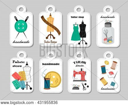 A Set Of Tags With Drawings Of Sewing Tools. Sewing Machine, Fabric And Mannequin, Buttons And Sciss