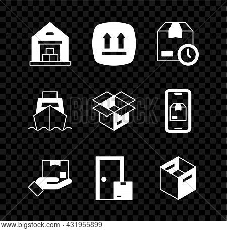 Set Warehouse, This Side Up, Cardboard Box With Clock, Delivery Hand, Home Delivery Services, Carton