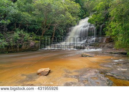Wide Shot Of Somersby Falls, With High Spring Flow, Near Gosford On The Nsw Central Coast