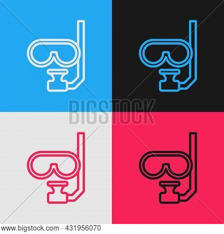 Pop Art Line Diving Mask And Snorkel Icon Isolated On Color Background. Extreme Sport. Diving Underw
