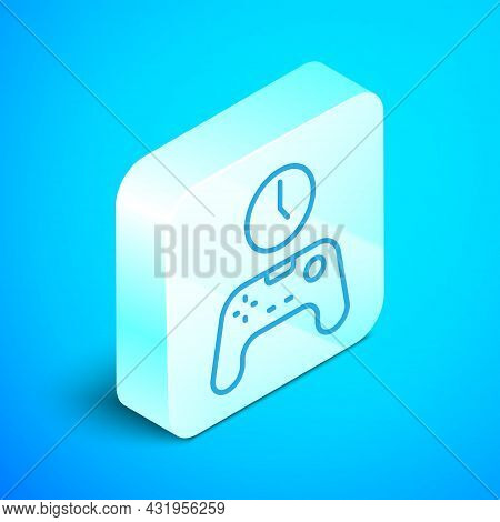 Isometric Line Gamepad Of Time Icon Isolated On Blue Background. Time To Play Games. Game Controller