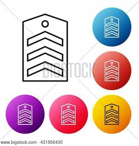 Black Line Chevron Icon Isolated On White Background. Military Badge Sign. Set Icons Colorful Circle