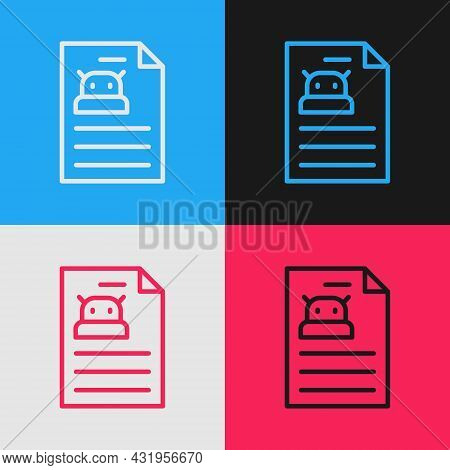Pop Art Line Technical Specification Icon Isolated On Color Background. Technical Support Check List