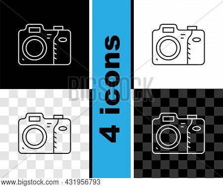 Set Line Photo Camera Icon Isolated On Black And White, Transparent Background. Foto Camera Icon. Ve