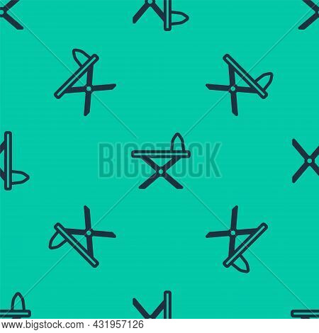 Blue Line Electric Iron And Ironing Board Icon Isolated Seamless Pattern On Green Background. Steam