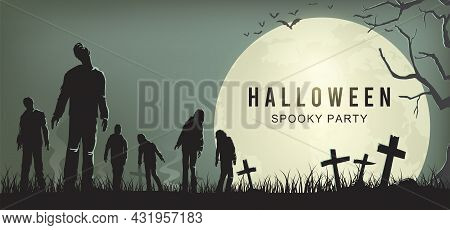 Halloween Spooky Party Poster, Silhouette Of Zombies Walking, Vector Illustration