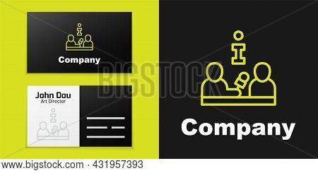 Logotype Line Interview With A Famous Person Icon Isolated On Black Background. Television Or Intern