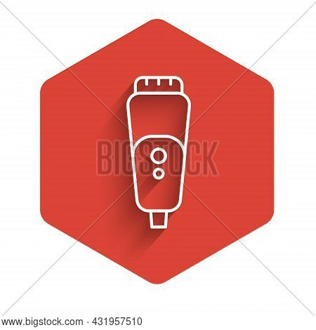 White Line Electric Razor Blade For Men Icon Isolated With Long Shadow Background. Electric Shaver.