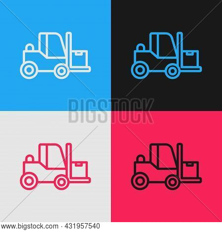 Pop Art Line Forklift Truck Icon Isolated On Color Background. Fork Loader And Cardboard Box. Cargo