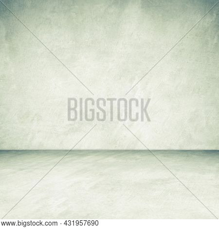 Empty Green Concrete Room And Floor Background, Perspective Green Gradient Concrete Room For Interio