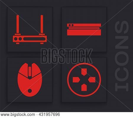 Set Gamepad, Router And Wi-fi Signal, Video Game Console And Computer Mouse Gaming Icon. Vector